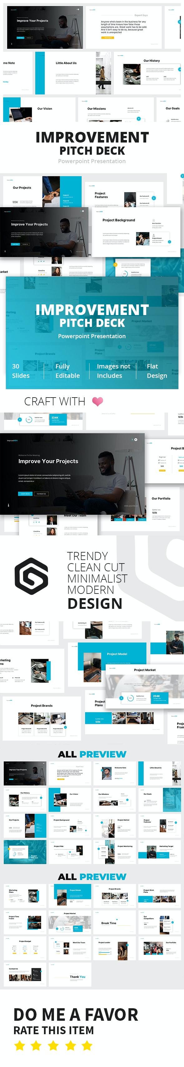 Improvement Pitch Deck Powerpoint Template - Business PowerPoint Templates