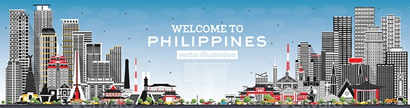 Welcome to Philippines City Skyline with Gray Buildings and Blue Sky. - Buildings Objects