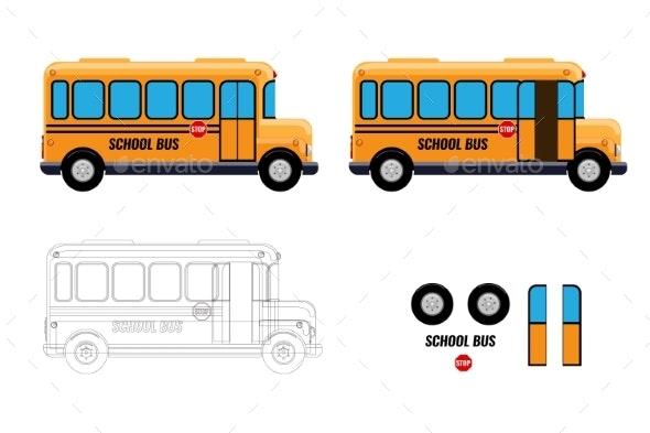 School Bus with Separate Elements Doors Open - Miscellaneous Vectors