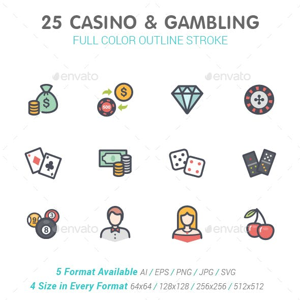 Casino & Gambling Line with Color Icons