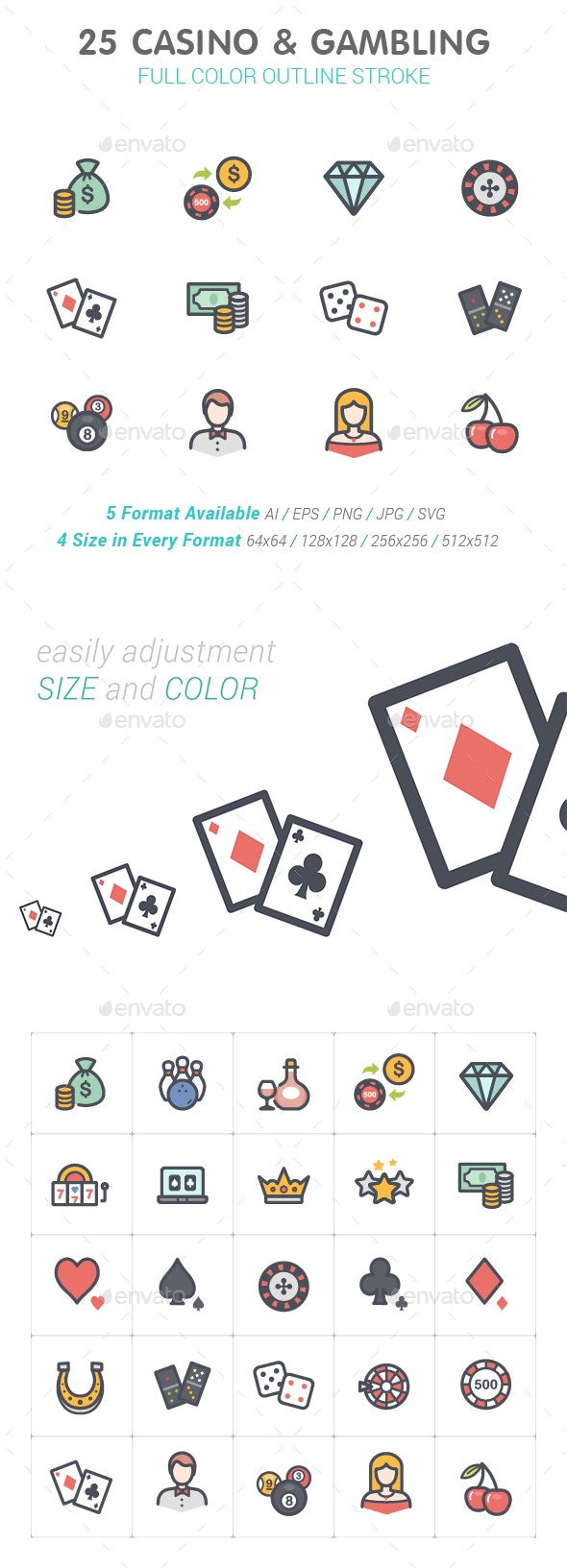 Casino & Gambling Line with Color Icons - Objects Icons
