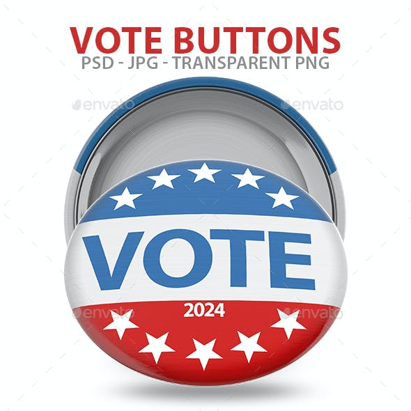 Vote Buttons Isolated 3D Renders