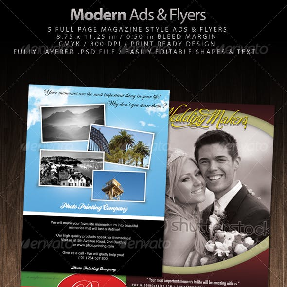 5 Magazine Style Modern Ads & Flyers