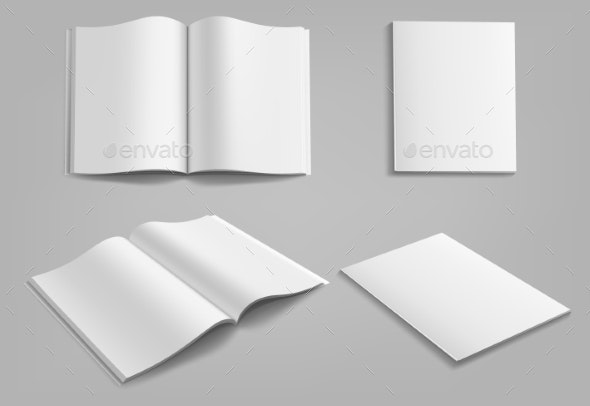 Set of Blank Magazine Album or Book Mockup Mock - Miscellaneous Vectors