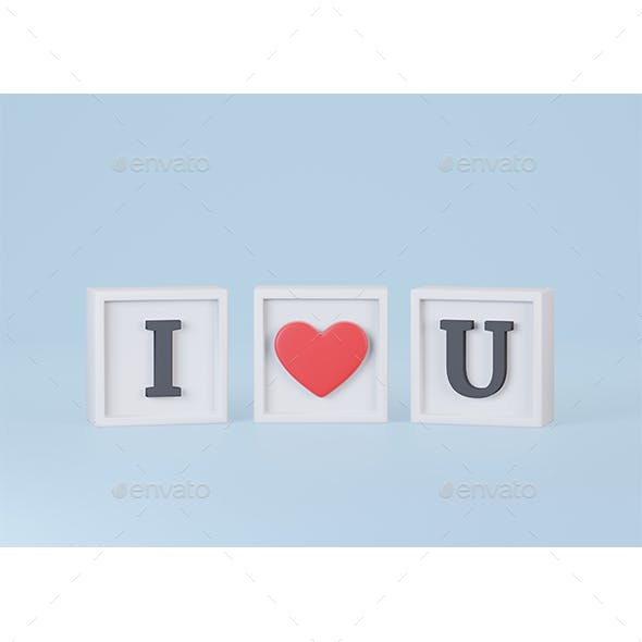 I Love U Words in Cube on Blue Background 3d Rendering