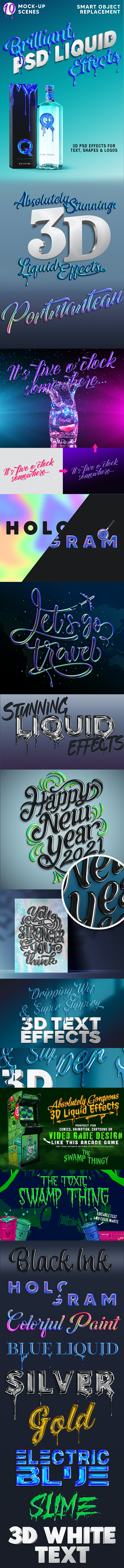 Brilliant 3D Liquid Effects - Text Effects Styles