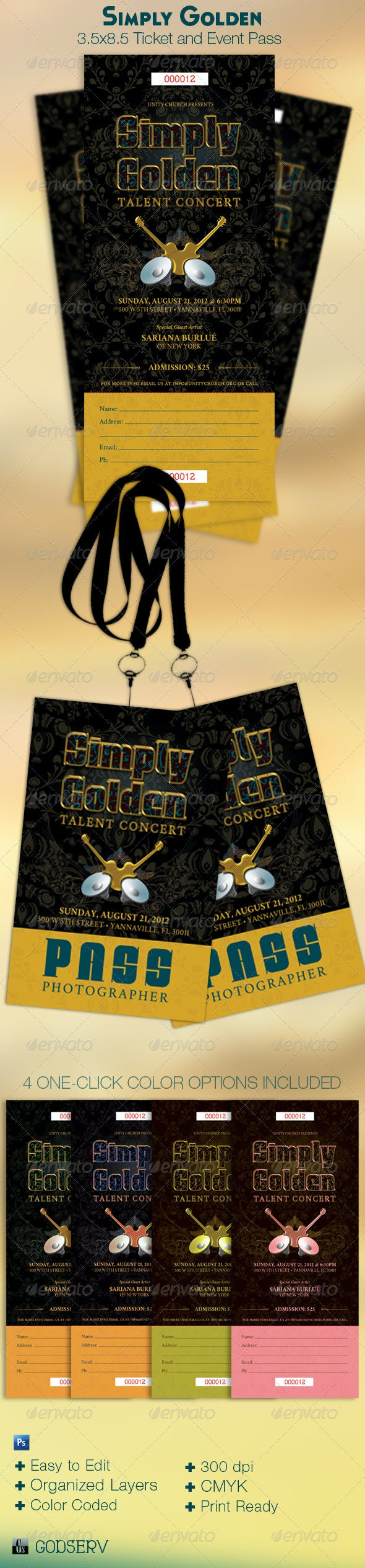 Golden Ticket Event Pass Template - Miscellaneous Print Templates