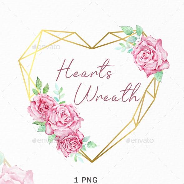 Watercolor Heart Valentine Wreath Boho Clipart