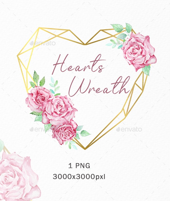 Watercolor Heart Valentine Wreath Boho Clipart - Illustrations Graphics