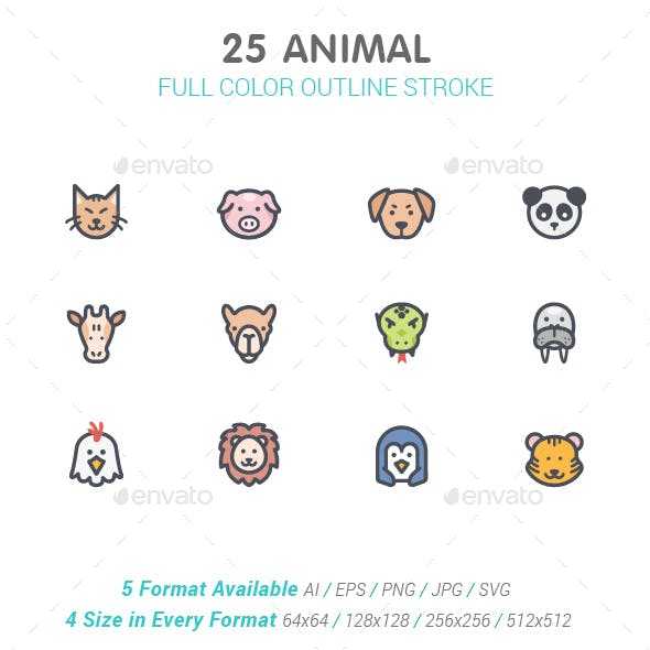 Animal Line with Color Icons
