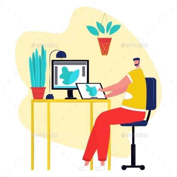 Professional Creative Web Designer Drawing Art - Computers Technology