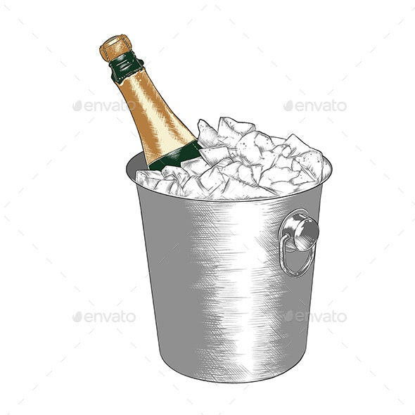 Hand Drawn Sketch of a Bottle Of Champagne in Ice - Food Objects