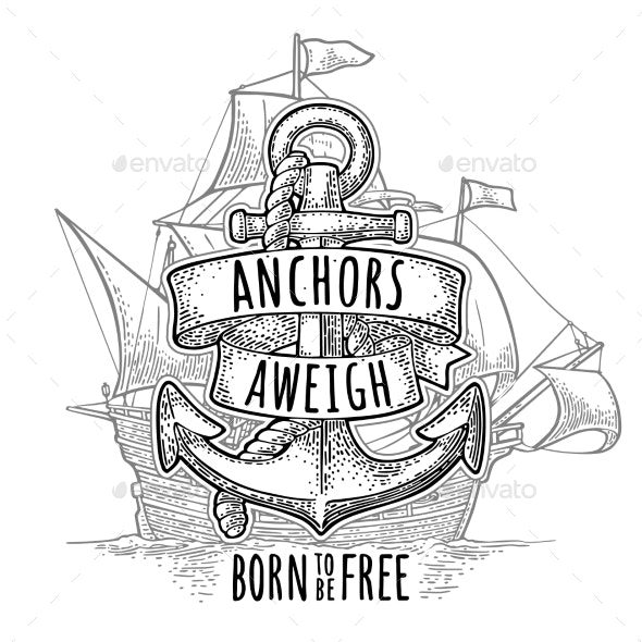 Anchor with Ribbon and Rope Isolated on White - Travel Conceptual