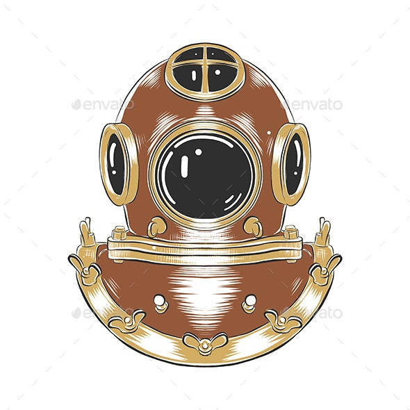 Hand Drawn Sketch Of Diving Helmet - Miscellaneous Conceptual