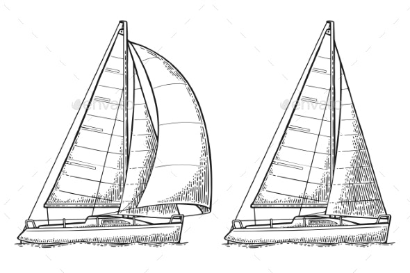 Two Sailing Yacht - Travel Conceptual