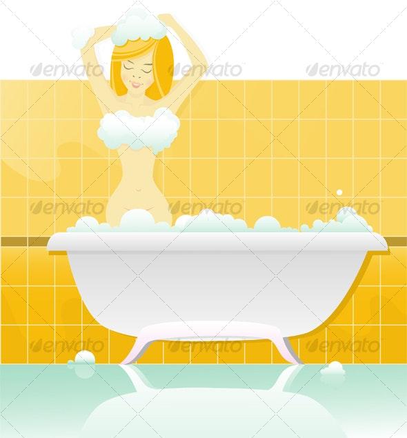 Bath Girl - People Characters