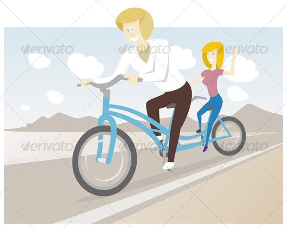 Tandem Bike Riders - Sports/Activity Conceptual