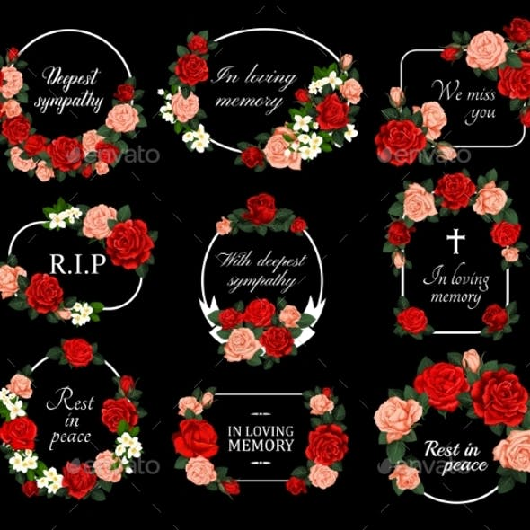 Funeral Vector Cards with Rose Flower Wreaths Set