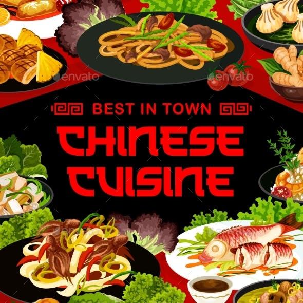 Chinese Cuisine Asian China Food Vector Meals