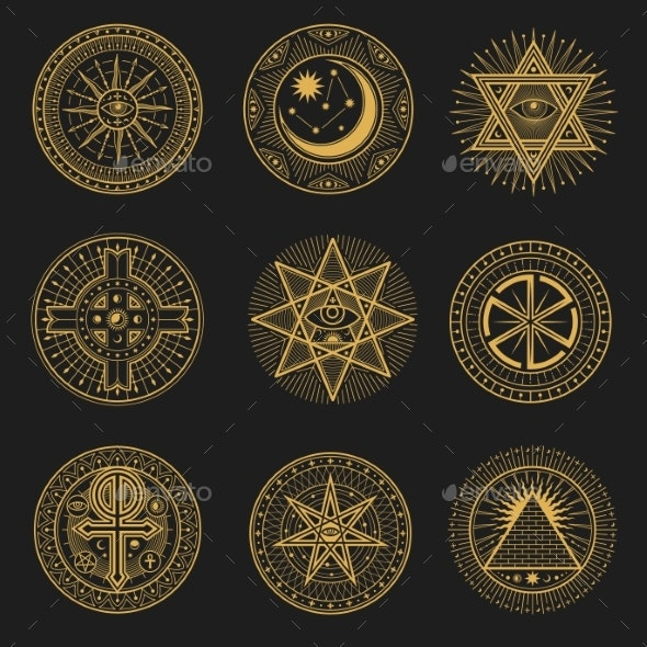 Occult Occultism Alchemy and Astrology Signs - Objects Vectors