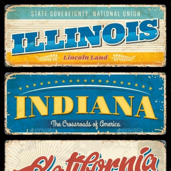 American States Illinois Indiana and California