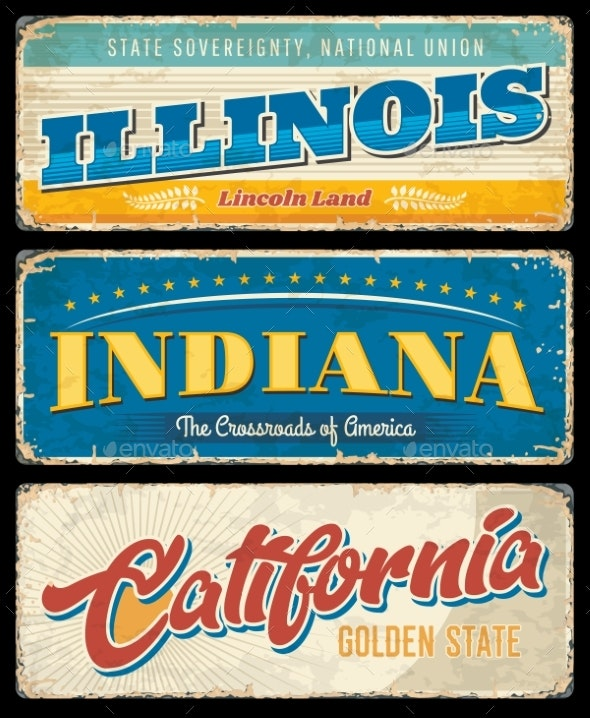 American States Illinois Indiana and California - Objects Vectors