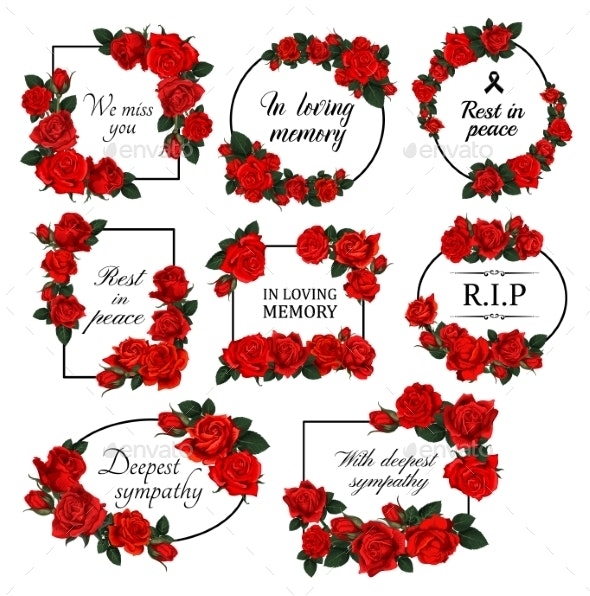 Funereal Floral Borders with Red Roses Vector - Objects Vectors