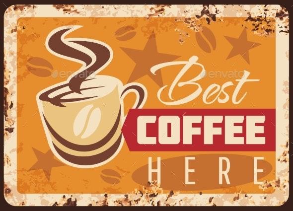 Coffee Metal Rusty Plate Cafeteria Drinks Menu - Food Objects