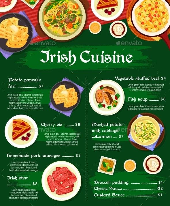 Irish Cuisine Vector Menu Template Ireland Meals - Food Objects