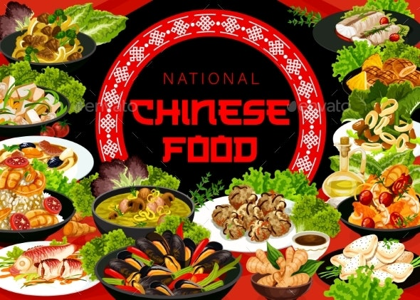 China Food Asian Dishes Cartoon Vector Poster - Food Objects