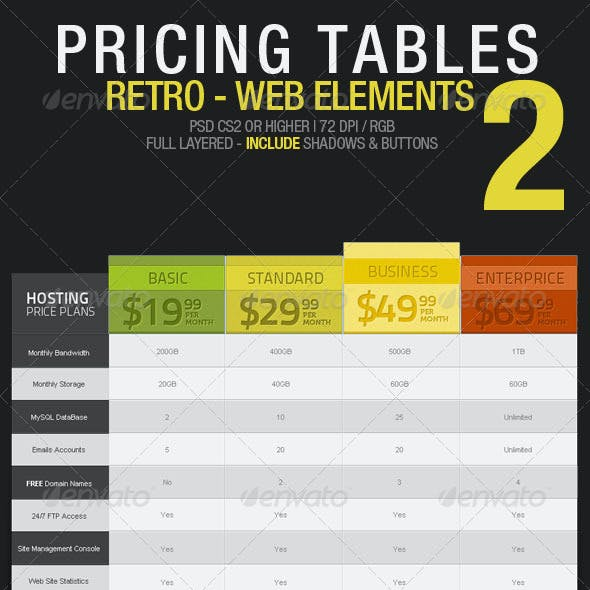 Pricing Tables 02 – Retro