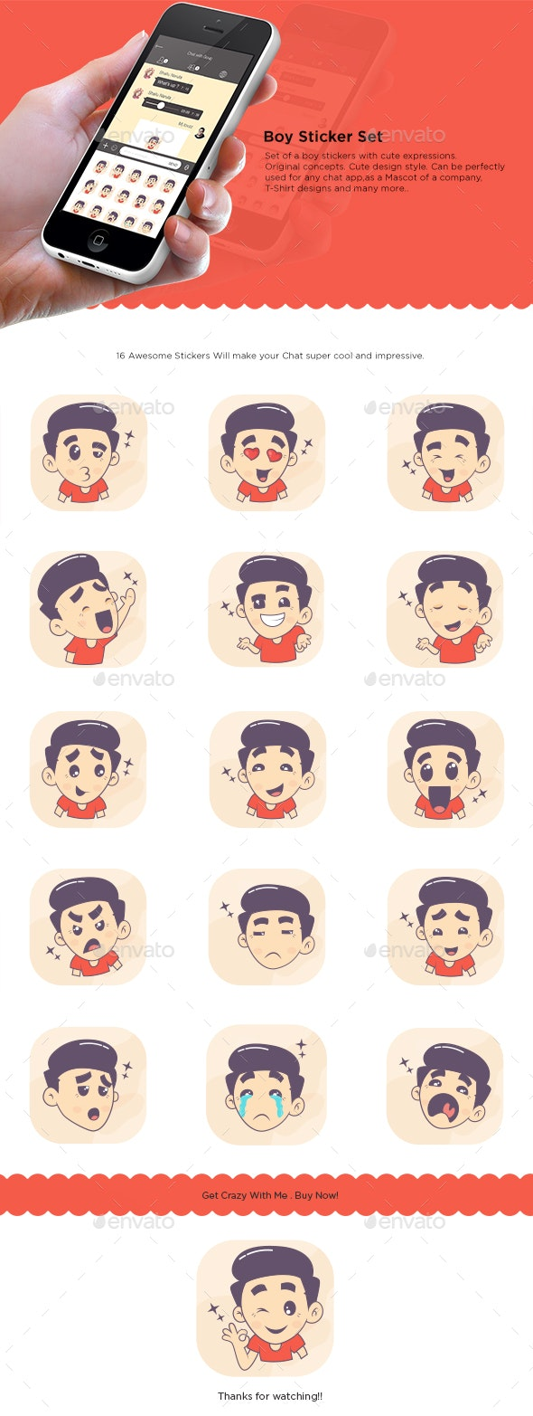 Boy Stickers Set - People Characters