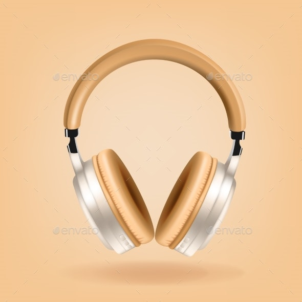 Beige and Silver Headphones Isolated on Beige - Objects Vectors