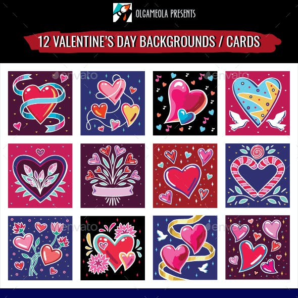 Valentines Day Backgrounds Set / Wedding Cards. Symbols of Love. Hearts, Flowers, Doves