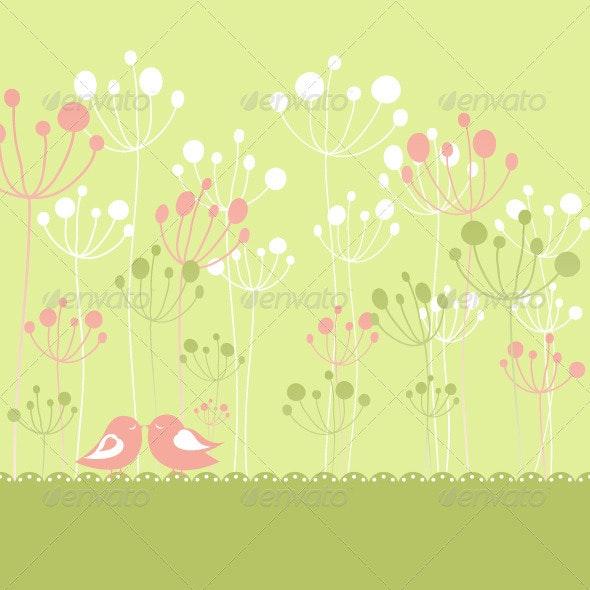 Birds on Flower background - Backgrounds Decorative