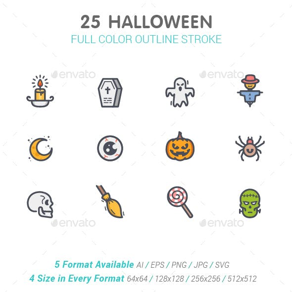 25 Halloween Line with Color Icons