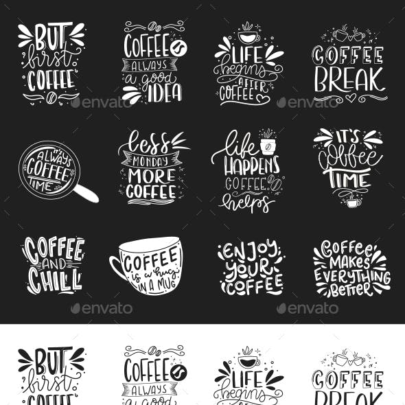 Coffee Hand lettered Phrases