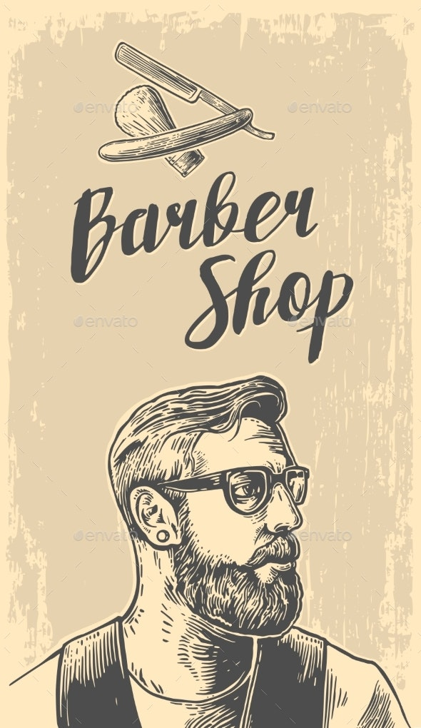 Hipster Shave Haircut in the BarberShop - People Characters