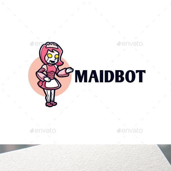 Maid Robot Character Mascot Logo