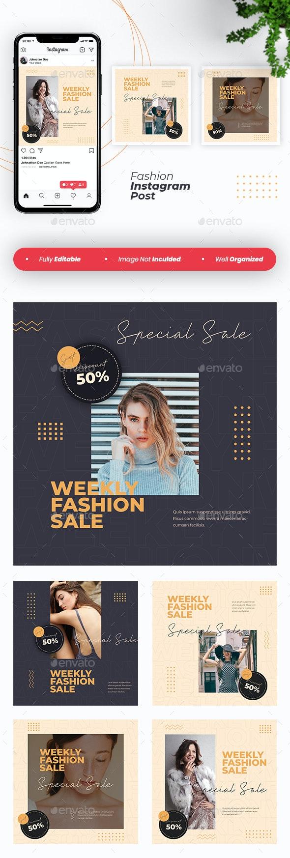 Fashion Instagram Post Template - Social Media Web Elements