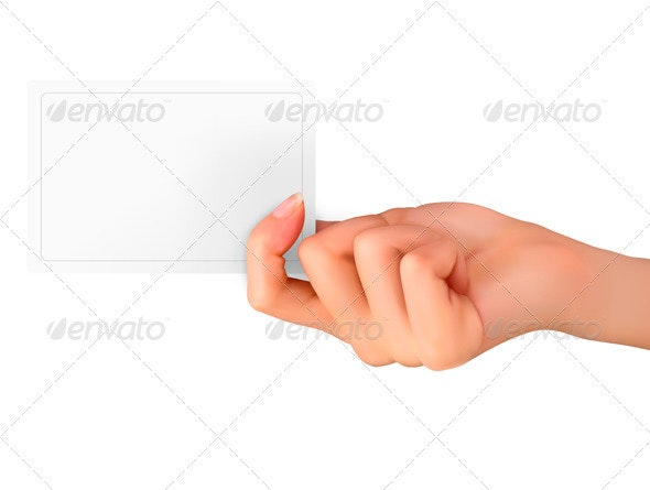 Woman hand with card - Borders Decorative