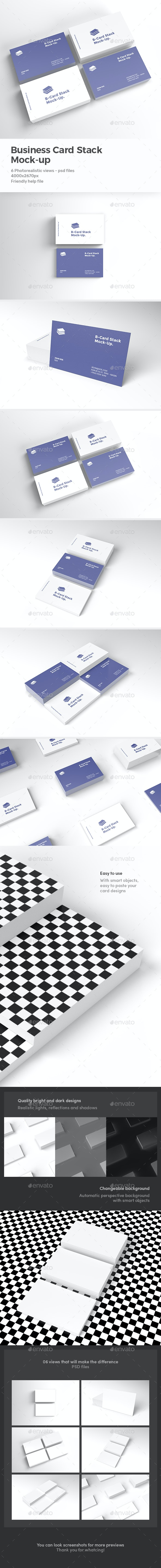 Business Card Stack Mock-up - Product Mock-Ups Graphics