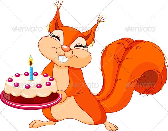 Squirrel holding cake - Animals Characters