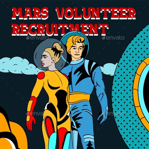 Mars Space Volunteer Recruitment Banner and Poster