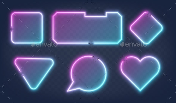 Set of Realistic Glowing Different Shapes Neon - Abstract Conceptual