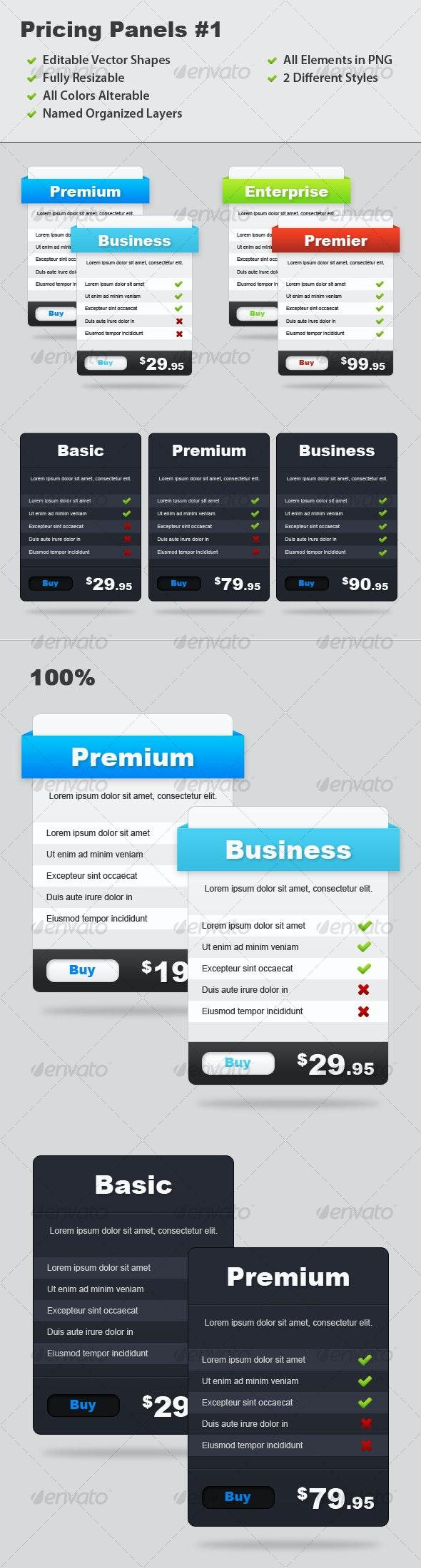 Pricing Panels #1 - Web Elements