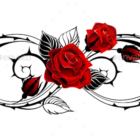 Infinity Outline Symbol with Rose