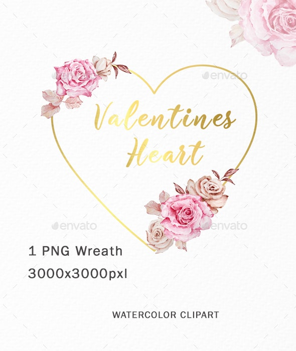 Watercolor Heart Valentine Wreath Boho Clipart - Illustrations Graphics