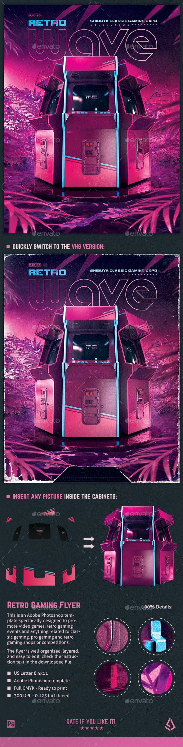 Retro Gaming Flyer 80s Synthwave World - Miscellaneous Events