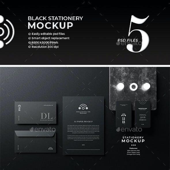 Black Stationery Mockup